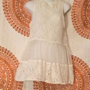 Umgee Off White Sheer Lace Top or Mini Dress